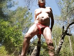 transvestite anal fisting sextoy outdoors forest dildo 63