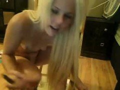 Blonde teen babe using all her toys to fuck her horny pussy