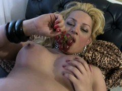 Glamourous doll with balls grows her girl shaft and jizzes