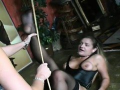Bondage act with a guy who gets tortured by female-dom