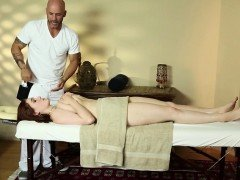 Busty massage ginger facefucked by masseur