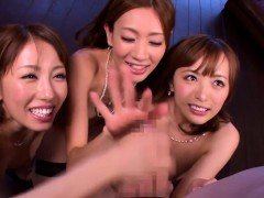 One lucky dude enjoys fucking three horny Asian babes