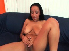 Ebony with huge natural tits takes big pussy
