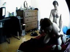 Hot teen couple fucking on hidden cam