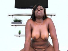 Adorable black babe puts her arse on top of a big ramrod