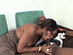 Black girl gets her mouth filled with a cock