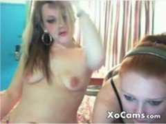 Lesbian teens give each other a massage on cam