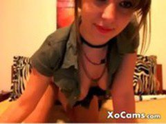 Cute little brunette with no bra bares all on cam