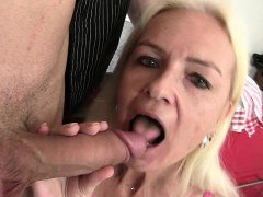 Blonde mother seduces son-in-law