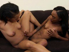 Black lesbians scissor and fuck with toys