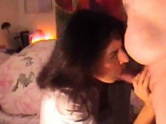 Amateur mature MILF giving a blowjob to a horny guy