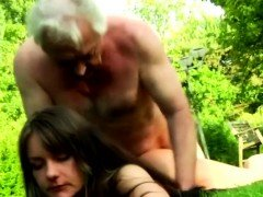 Alluring brunette got a hot doggystyle fuck from an old man