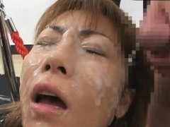 Fascinating asian chick needs sperm on her face and tits