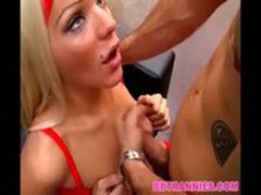 Blonde shemale hottie fucked without condom