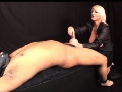 Blonde mistress stroking black dude