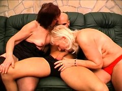 Two mature woman with HUGE boobs in wild threesome