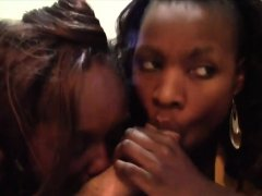 Hot ebony duo playing together with a big white dick