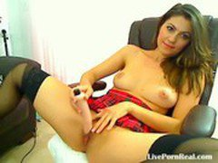 hot brunette playing with a dildo on a chair(4).flv