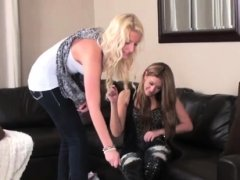Pretty chick has slave take up with the tongue shoe sole