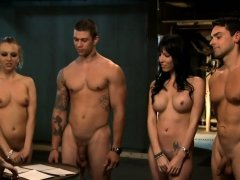 Kinky sluts hot foursome in the jailcell with horny men