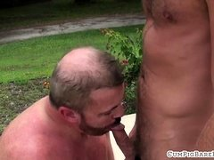 Outdoor stud ridden bareback by bear in pool