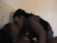 Sexy African lesbians make out and pour oil over their firm