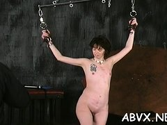 Undressed woman stands and endures coarse servitude amateur