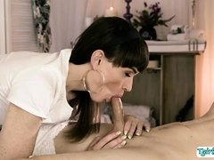 Masseuse tranny Natalie spreads ass in anal fuck
