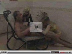 2 chicks blow one guy  FM 14