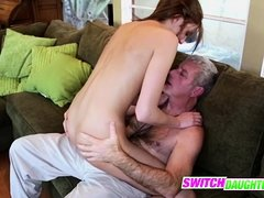 Cheerleader seduces daddy into fucking her pussy hard