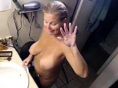 Big Boobs on my ex in shower Diddle