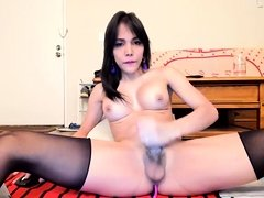 Amateur big cock and big tits tranny solo
