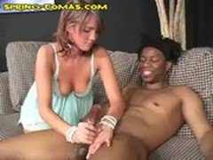 Hung Black Gets a Handjob from Blonde