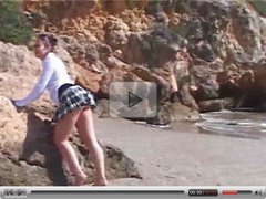 Krystal kicks back naked on the beach  FM14