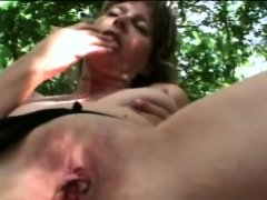 Mature babe with small tits sucking balls and gets fucked
