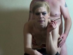 amateur german ugly smoking blonde blowjob and facial