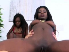 Two ebony chicks riding monster dick