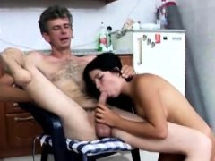 Hot slut sucks on horny amputees cock before getting drilled