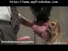 Bound Suspended Blonde Sucks Dick In Police Station bdsm bondage slave femdom domination