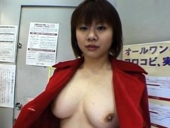 Nasty busty japanese Marin is grabbing her very big boobs