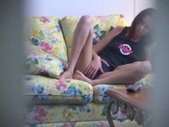 Small Age Girl Rubbing And Fingering Her Pussy On Sofa