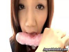 Asian licking vibrator then cock