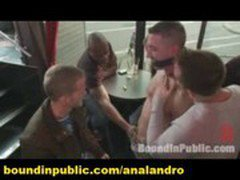 Muscle Stud BDSM Uses and gangbangs his Boy in Front of a Horny Lunch Crowd