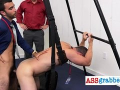 HORNY group of MUSCLED GAY guys getting naked in the office