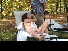 My wife swallows cum in nature