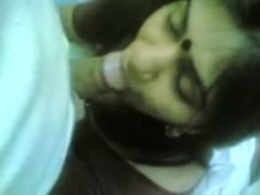 Shy Desi Indian gf giving blowjob to college lover