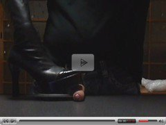 2 different black boots kick cock till cumshot