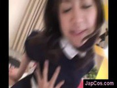 Japanese maid rides hairy dick and kisses her master