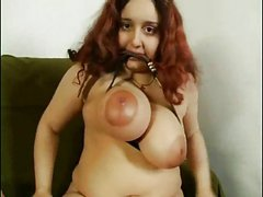 Fat Chubby playing with hairy Pussy and Big Tits with stick