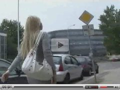 Angelic girl jerks a stranger in the street
